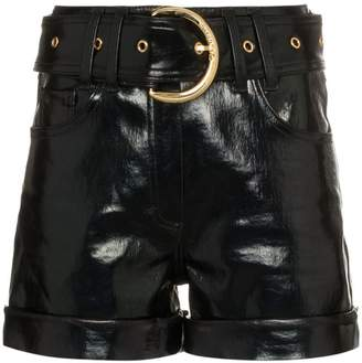 Balmain high waisted belted faux patent leather shorts