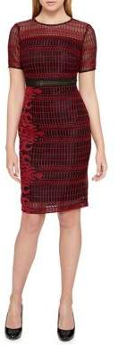 Guess Embroidered Mesh Knee-Length Dress