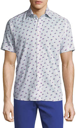 Etro Paisley-Print Short-Sleeve Cotton Shirt