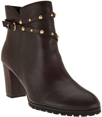C. Wonder Leather Ankle Boots w/ Stud Detail - Ava