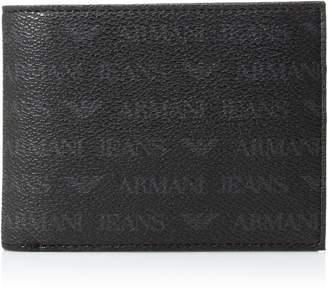 Armani Jeans Men's All Over Logo Pu Bi Fold Wallet with Coin Pocket