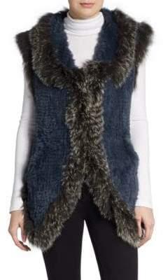 Saks Fifth Avenue Fox-Trimmed Rabbit Fur Vest
