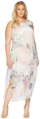 Vince Camuto Specialty Size Plus Size Sleeveless Diffused Blooms Knit Underlay Dress Women's Dress