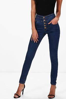 Damen Holly Röhrenjeans mit 5 Knöpfen und extrem hohem Bund in Mittelblau