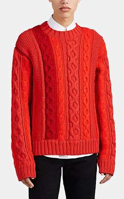 Helmut Lang Men's Mixed-Knit Sweater - Red