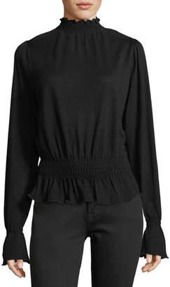 Frame Smocked Mock-Neck Long-Sleeve Wool Sweater