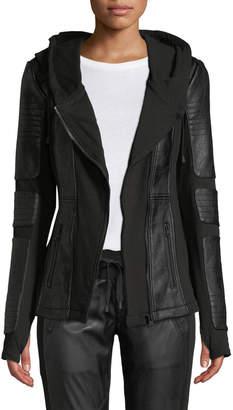 Blanc Noir Asymmetrical Hooded Terry Moto Jacket