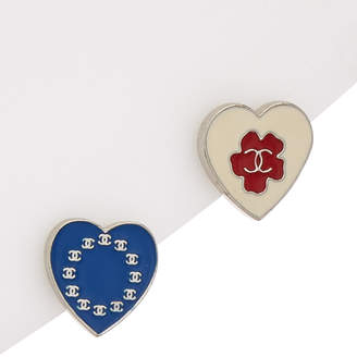 Chanel Enamel & Silver-Tone Heart Pin Set