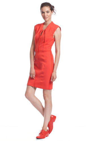 Tracy Reese Pleated Sleeveless Dress with Front Zipper