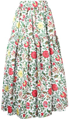 La DoubleJ tiered floral skirt