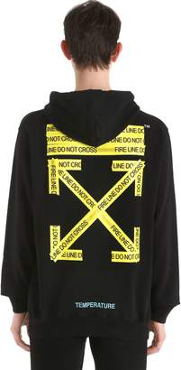 Off-White Fire Line Tape Printed Cotton Sweatshirt