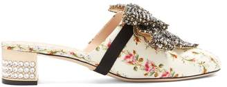 Gucci Crystal Embellished Satin Mules - Womens - Pink White