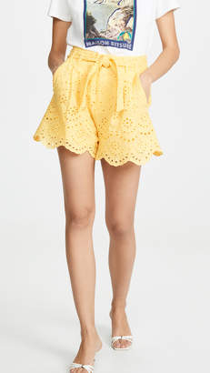 7 For All Mankind Tie Waist Eyelet Shorts