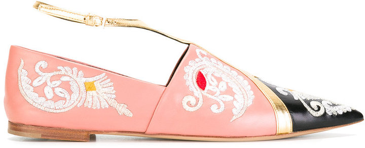 EtroEtro embroidery trim slippers