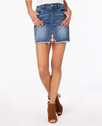 Dollhouse Juniors' Plaid-Contrast Denim Mini Skirt