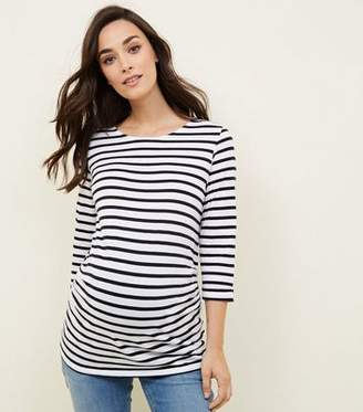 New Look Maternity Blue Stripe 3/4 Sleeve T-Shirt