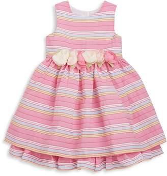 Pippa & Julie Toddler's & Little Girl's Rosette-Trimmed Textured Stripe Fit-&-Flare Dress