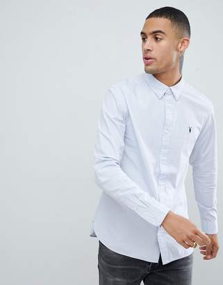AllSaints long sleeve shirt in blue with logo