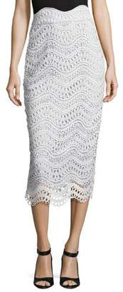 Lela Rose Scalloped Lace High-Waist Pencil Skirt, Light Blue