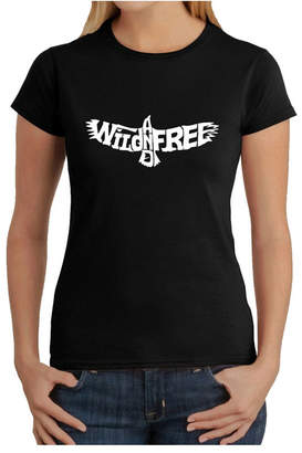 Women Word Art T-Shirt - Wild and Free Eagle