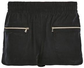 L'Agence Gathered Washed-Silk Shorts