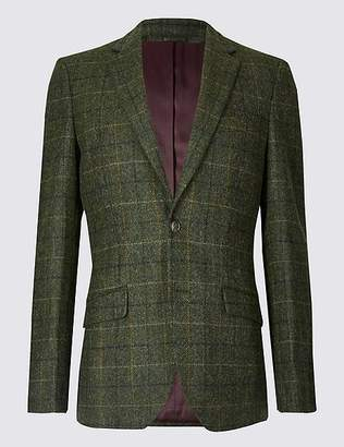 Marks and Spencer Pure Wool Checked Tailored Fit Jacket