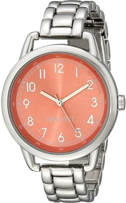 Nine West Women's NW/1691COSB Easy To Read Coral Dial Silver-Tone Bracelet Watch