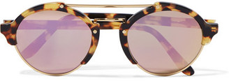 Illesteva - Milan Ii Round-frame Acetate And Gold-tone Mirrored Sunglasses - Purple $300 thestylecure.com
