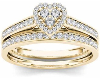 Imperial Diamond Imperial 1/2 Carat T.W. Diamond Heart-Frame 10kt Yellow Gold Engagement Ring Set