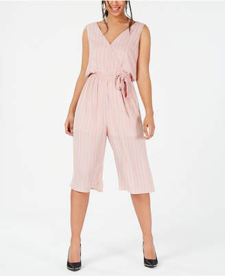One Clothing Juniors' Striped Cropped Wrap Jumpsuit