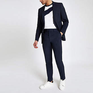 River Island Mens Navy slim fit suit trousers