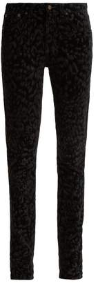 Saint Laurent Flocked Velvet Leopard Print Jeans - Womens - Black