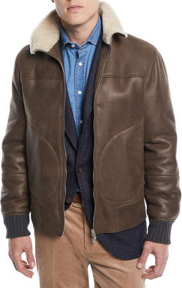 Brunello Cucinelli Men's Shearling-Trim Short Leather Jacket