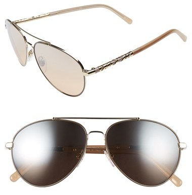 Women's Burberry 58Mm Aviator Sunglasses - Silver Mirror Gradient