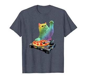 DJ Cat Shirt Cat DJ Pizza EDM Music Cute White Kitty Tee