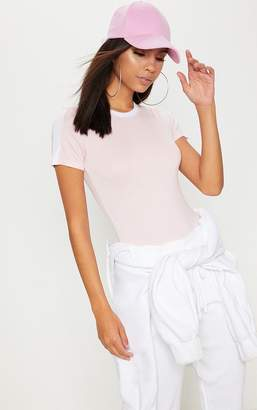 PrettyLittleThing Pink Contrast Stripe Thong Bodysuit