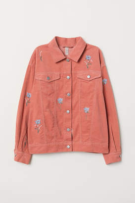 H&M Embroidered Corduroy Jacket - Pink