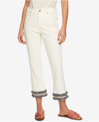 1 STATE 1.state Embroidered Fringe High-Waist Jeans