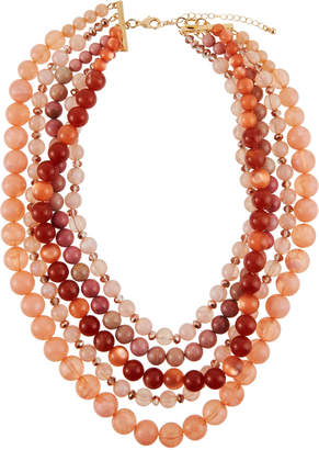 Lydell NYC Five-Strand Beaded Necklace, Pink