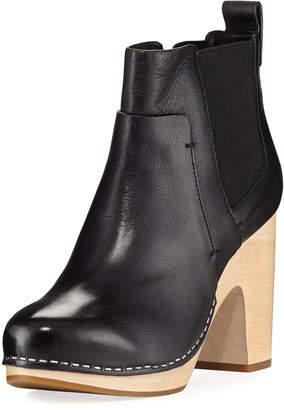 Veronica Beard Camila Wooden-Heel Chelsea Boot