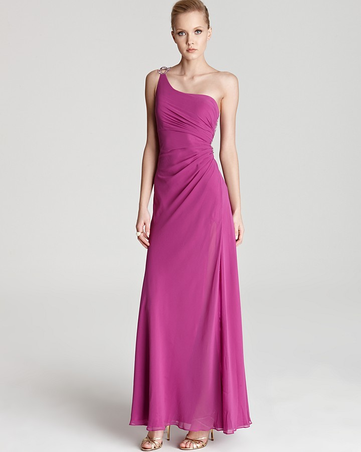 Faviana One Shoulder Gown - Cut Out