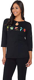 Factory Quacker Embroidered 3/4 Sleeve KeyholeT-shirt w/Charm