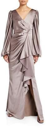 Aidan Mattox V-Neck Satin Leg Of Mutton Sleeve A-Line Gown