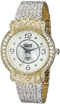 Burgi Women's BUR120SSG Diamond & Crystal Accented Mother-of-Pearl Dial Yellow Gold and Silver Bracelet Watch