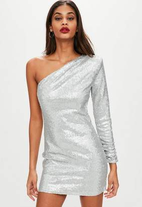 Missguided Silver One Shoulder Sequin Shift Dress