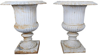 One Kings Lane Vintage Pair of Italian Painted Cast Iron Urns