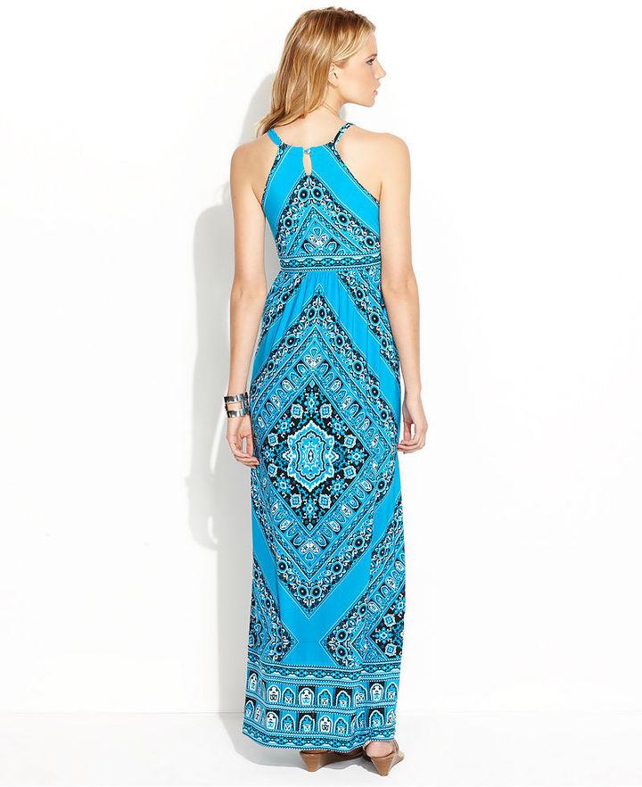 INC International Concepts Dress, Halter Bandana-Print Maxi
