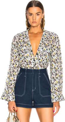 Chloé Floral Print Collarless Shirt