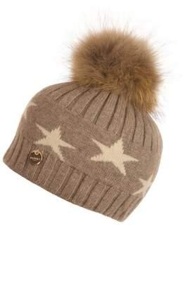 Popski London Faux Fur Angora Pom Pom Hat With Stars - Soft Fawn
