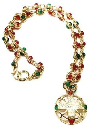 Gold-Tone Red and Green Cabochon Gripoix Necklace
